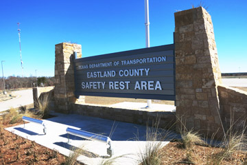 A welcome sign greets visitors to the new Eastland County Safety Rest Area