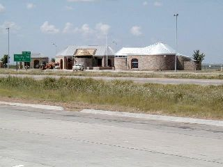 View of the renovated Hale County Safety Rest Area over IH-27