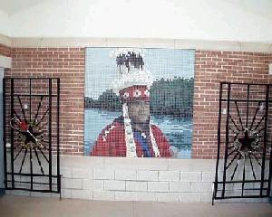 Ceramic mosaic of an Indian Chief (Alabama-Coushatta tribe who still lives in the area)