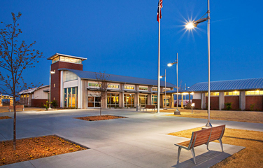 View of front entrance of the new Ward County Safety Rest Areas