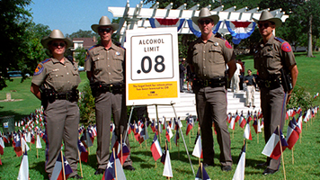 Texas state troopers standing next sign displaying 0.08% blood alcohol limit