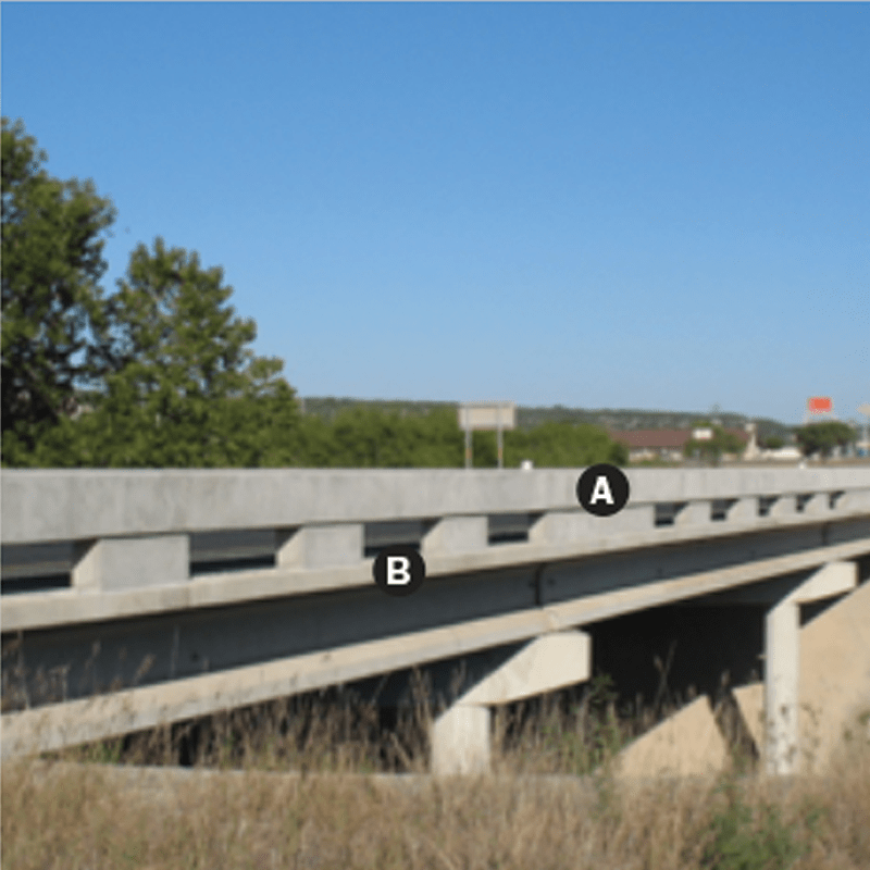 Open concrete bridge rail photo