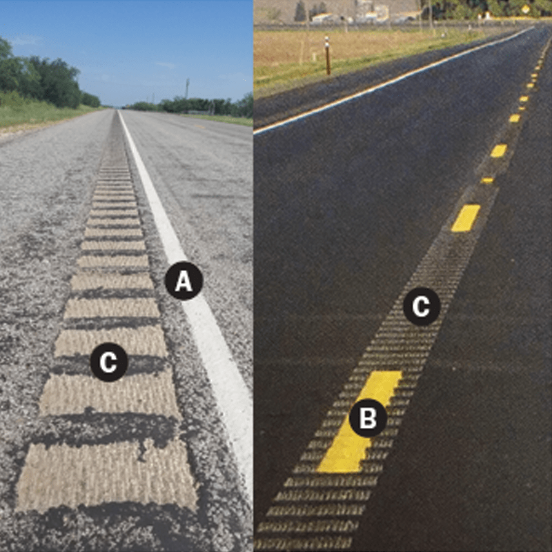 Shoulder and center line rumble strips photo