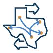 Texas with travel routes icon