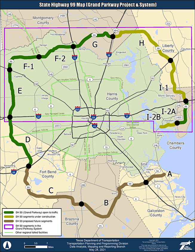 Map of Proposed SH 99/Grand Parkway Project