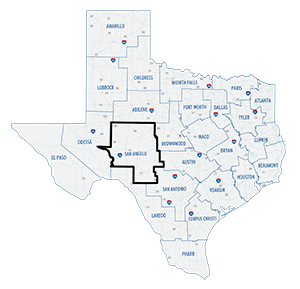 San Angelo District county map