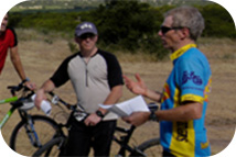 Bicyclists talking