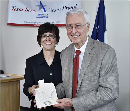 Left: Keep Texas Beautiful Executive Director Suzanne Kho; Right: James R. Bobby Evans